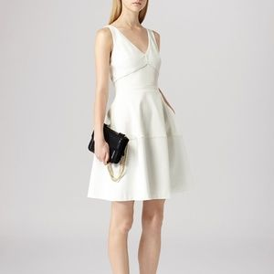 Reiss Natalia White Fit Flare Dress A Line Cut Out